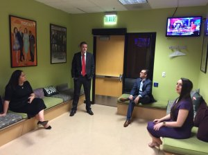 MCYRP Members in the green room (literally) before doing our live coverage of Super Tuesday for NBC.
