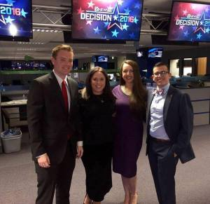 At NBC News studios for Super Tuesday. MCYRP Members (from left to right): President Chris Herring, Lilia Dashevsky, Cristina Melian, Diego Moya.